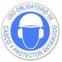 USO OBLIGATORIO DE CASCO Y PROTECTOR ANTIRUIDO
