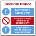 SECURITY NOTICE: ACCES, WEAPONS, PHOTOGRAPHY...