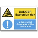 DANGER EXPLOSION RISK/IN THE EVENT OF FIRE...