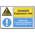 DANGER EXPLOSION RISK/IMPORTANT CLOSE ALL OXY...