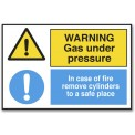WARNING GAS UNDER PRESSURE/IN CASE OF FIRE...