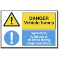 DANGER VEHICLE FUMES/VENTILATION...