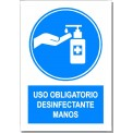 USO OBLIGATORIO DE DESINFECTANTE DE MANOS