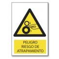PELIGRO RIESGO DE ATRAPAMIENTO (RODILLO/MANO)